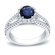 Auriya 14k Gold 3/4ct Sapphire and 1/2ct TDW Round Diamond Engagement Ring (H-I, SI1-SI2) (White Gold - Size ), Women's