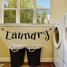 DIY Laundry Room Quote Wall Sticker Home Decor Art Mural Removable Decals Black
