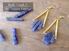 DIY Earrings and Homemade Jewelry Projects - Trapeze Earrings - Easy Studs Ideas with Beads Dangle Earring Tutorials Wire Feather Simple Boho Handmade Earring Cuff Hoops and Cute Ideas for Teens and Adults #diyjewelry