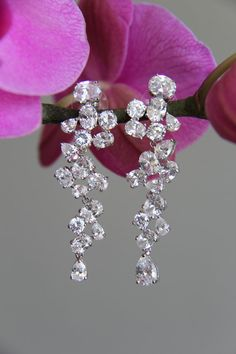 Unique sparkly chandelier dangley bridal earrings by terihuang, $68.00