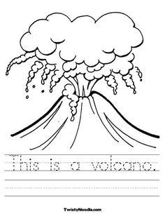 This is a volcano Worksheet - Cursive - Twisty Noodle Dinosaur Worksheets, Kindergarten Worksheets, Worksheets For Kids, Science Worksheets, Kindergarten Science, Volcano For Kids, Science For Kids, Volcano Projects, Science Projects