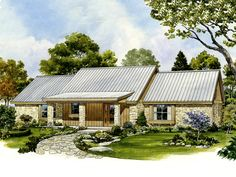 Texas ranch homes on pinterest hill country homes texas for One story retirement house plans