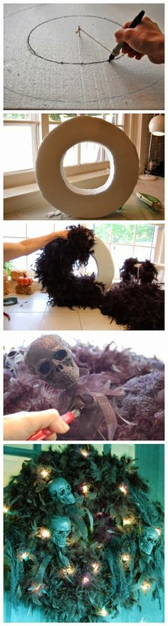 Skull Wreaths - Instead of using a wreath form, I could use the ¢.97 pipe insulation curved into a circle and go from there. I do have glitt...