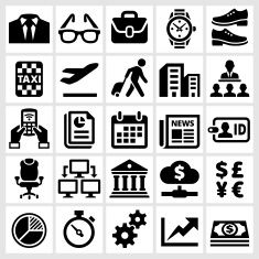 Business Meeting and Finance royalty free vector interface icon set vector art illustration