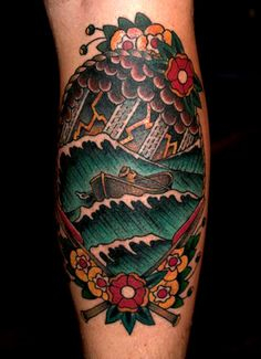old school tattoo / traditional nautical ink - ship(by Zooki)