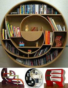 On the actually-built side of things, these cardboard bookcases put round into practice. The spaces created within them are somewhat challenging from a functional standpoint but visually they are very impressive. It goes back to the age old furniture question: do you design with a function in mind or let users figure out their own functionality?