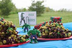 "avengers Birthday Party Food Ideas   Hulk ""debris"" at an Avengers Party #avengers #partyfood"