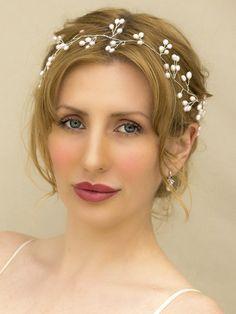 "Vintage Pearl Bridal Vine Headband ~ ""Willow"" - Bridal Hair Accessories by Hair Comes the Bride"