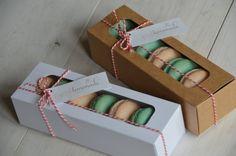 5 x Macaron boxes Pink/White/Kraft by ElitePackagingCo on Etsy