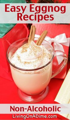 Easy Non-Alcoholic Homemade Eggnog Recipes - Living on a Dime To Grow Rich Easy Non-Alcoholic Eggnog Recipes - Here are two easy homemade eggnog recipes that you can prepare ahead and take to holiday parties or simply enjoy at home during the holidays! Christmas Drinks, Holiday Drinks, Holiday Recipes, Holiday Parties, Winter Drinks, Christmas Recipes, Holiday Punch, Holiday Snacks, Christmas Lunch