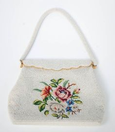 Needlepoint Flower and Beaded Purse