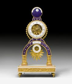 MANTLE CLOCK WITH SKELETON MOVEMENT, MOON PHASE AND DATE, Louis XVI, the cartouche signed RIDEL A PARIS (probably Laurent Ridel, active from ca. 1770 onwards), the enamel painting attributed to J. COTEAU (Joseph Coteau, Geneva 1740-1801 Paris) , Paris ca. 1780.