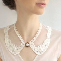 Bib lace collar peter pan collar necklace Victorian jewelry The ultimate way to upgrade your basic outfit - delicate gorgeous lace collar TAKE Victorian Jewelry, Gothic Jewelry, Christine Mcconnell, Clothing Staples, Bib Necklaces, Collar Designs, Necklace Designs, Necklace Ideas, Jackie Kennedy