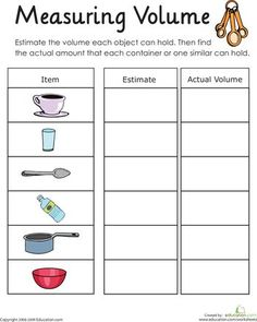 SC.2.P.8.6 - Measure and compare the volume of liquids using containers of various shapes and sizes.  _____ Worksheets: Measuring Volume: How Much Liquid Can it Hold?