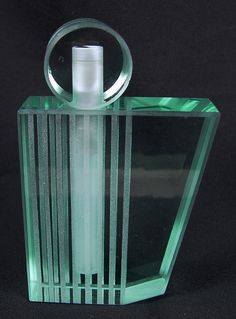 I absolutely love this and can remember this glass and type bottles from my childhood.qb Gorgeous LESER Translucent Art Deco PERFUME BOTTLE