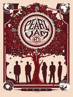 Pearl Jam 10 Club Poster by Munk One Release Details  ☮~ღ~*~*✿⊱╮Hippie Style, Free Spirit, Boho, - レ o √ 乇 !! ✿⊱╮❥☮