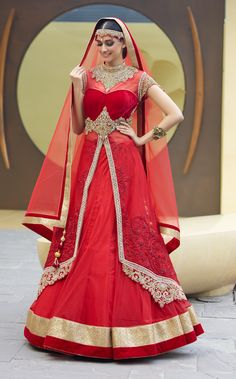 USD 1156.44 Red Soft Net Designer Gown 47426