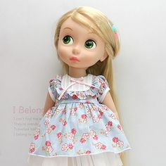 "Disney Baby doll clothes dress clothing blue flower collection Princess 16"" DR03 #HappyJinny"