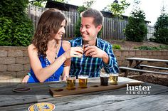 This couple used a portion of their engagement session to celebrate their love for each other (and of IPA beer) at Carolina Brewery in Pittsboro, NC. Isn't this a deliciously colorful flight?!?