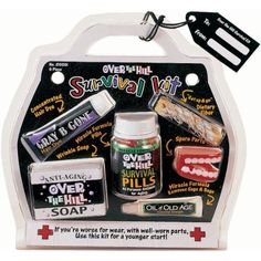 Over the Hill Survival Kit by AMSCAN, http://www.amazon.com/dp/B00186P5PA/ref=cm_sw_r_pi_dp_qIjwqb02ZDA6T