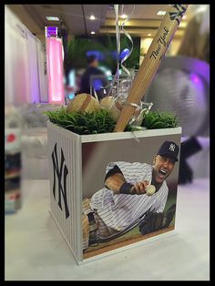 Bar Mitzvah Sports Centerpiece Any Sport Teams by ThePartyPlaceLI Sports Centerpieces, Baseball Centerpiece, Bar Mitzvah Centerpieces, Bar Mitzvah Themes, Bar Mitzvah Party, Bat Mitzvah, Baseball Wedding Centerpieces, Picnic Centerpieces, Baseball Decorations
