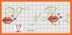 Cross Stitch Embroidery, Initials, Alphabet, Bullet Journal, Letters, Pets, Cross Stitch Letters, Cross Stitch Alphabet, Kiss