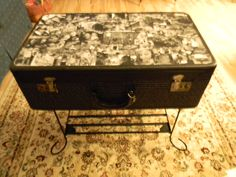 After my memory suitcase/ hand sewing storage was done, I found at the flea market an old wrought iron aquarium base to use as the legs/stand for my new coffeetable/ sewing storage, with Wonderful photos of my grand children through out the years.