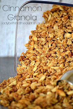 Always keep a container of this Cinnamon Granola in your pantry.  Perfect for parfaits, on top of oatmeal or as a snack!  Add dried fruit for a little extra sweetness.