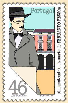 Fernando Pessoa - Personalities of the Portuguese Culture - Luiz Duran Portuguese Culture, Envelope Art, Book Writer, Photos Tumblr, Stamp Collecting, Postage Stamps, Caricature, Famous People, History