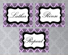 Bathroom Printable Sign Set, Lather Rinse Repeat, Damask - pinned by pin4etsy.com