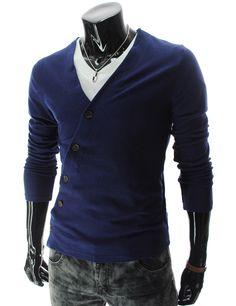 Unbalanced Button Knit Cardigan
