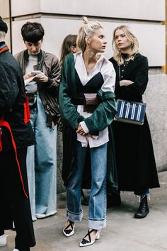 Tank over blouse, spring transitional outfit ideas, Fashion girls, street style, how to layer, how to wear boyfriend jeans, LFW Street Style III | Collage Vintage