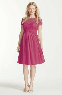 This pleated bodice bridesmaid dress is a stylish choice for any occasion! Style F15911 at David's Bridal.