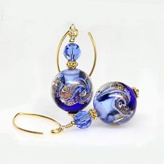 Wow! Love these earrings. It would be a sweet gift for her. Cobalt Blue Gold Venetian Murano Lampwork Glass by ElandraDesigns