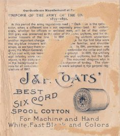 003 - JP Coats Thread Trade Card Uniform of the Army 1833 - 1850 back