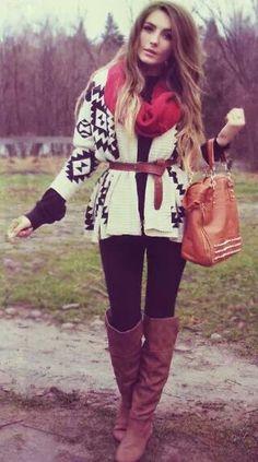 BOHO: black leggings; brown boots; ethnic knit; red scarf; camel bag