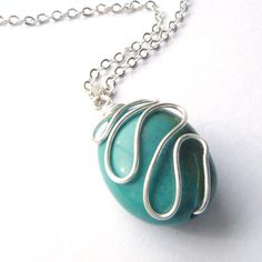 Turquoise Silver Necklace Mint Green Wire by Fiore Jewellery