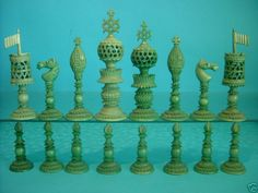 An Anglo-Indian ivory chess set with many unusual features. Probably manufactured in India for the English market.
