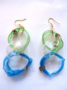 recycled plastic bottles earrings by giovannacargnelli on Etsy, €15.00