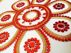 9 pieces beautiful Bridal Red Rangoli for Indian Weddings