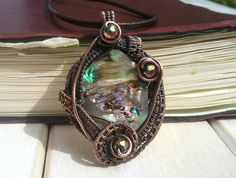 Mermaids Pendant  Shell Wire Wrapped Pendant  Wire by EmmaWyattArt