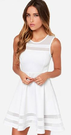 Scoop Splicing Mesh Hollow Out Short Dress