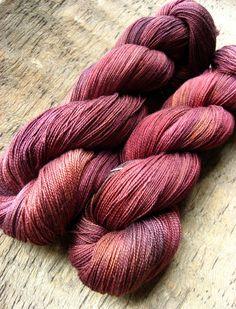 Sangria Hand Dyed Silk Yarn by sericin on @Etsy