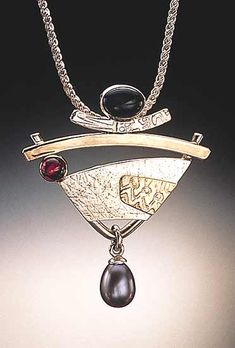 Pendant with Pearl: Idelle Hammond-Sass: Silver & Gold Pendant - Artful Home