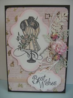 #Stampendous Cling Rose Corset, Marianne designs Die cut shapes and Mullberry Roses.  Super cute pin from CukyBugCrafts!