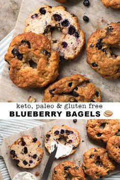 A spinoff of our much-raved-about low carb bagels, these gluten free, paleo and keto blueberry bagels are nothing short of spectacular! Blueberry Bagel, Gluten Free Blueberry, Keto Blueberry Muffins, Low Carb Bagels, Keto Bagels, Keto Donuts, Keto Cookies, Keto Biscuits, Keto Diet Breakfast