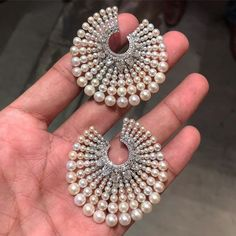 Bhagat Natural Pearl and Diamond Ear Clips, #ForSale #FDGallery