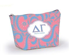 Our newly designed Delta Gamma Cosmetic Bag offers ample room to carry all of your beauty essentials, and other accessories that you just can't live without. You will love the fresh colorful pattern and DG logo on front, and did you know a portion of each bag sold goes back to your sorority? That's what we call a win win! Perfectly sized cosmetic case is ideal for travel or every day use. Machine washable and made in the USA by desden. Click the pic to shop today.