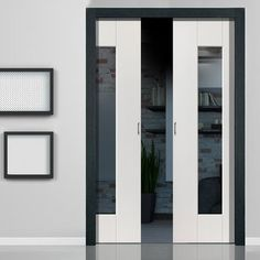 Double Pocket Symmetry Axis White sliding door system in three size widths with Clear Glass. Interior Sliding French Doors, Modern Sliding Doors, Sliding Door Systems, Modern Door, Double Pocket Door, Pocket Door Frame, Pocket Doors, Internal Glazed Double Doors, Internal Doors