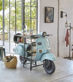 Blue Scooter Bar Unit in Metal and Mango Wood Scooter Maisons du Monde Car Furniture, Recycled Furniture, Plywood Furniture, Unique Furniture, Design Furniture, Coffee Shop Interior Design, Cafe Design, Modern Interior Design, Casa Retro
